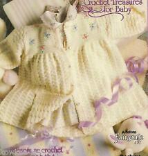Treasures for baby crochet coat dress toys cardigan jacket pattern 542 EE Patons