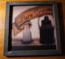 Pure Cream Milk Jug Bottle Sign Rustic Country Primitive Farm Kitchen Home Decor