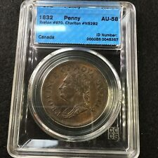 *1832*Can.Token**NS-2B2, Breton #870, CCCS Graded**AU-58** One Penny Token