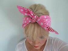 PINK POLKA DOT HEAD SCARF HAIR BAND RED GINGHAM BOW ROCKABILLY LAND GIRL PINUP