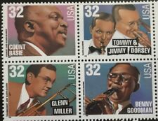 BIG BAND LEADERS - SET OF FOUR 32 CENT COMMEMORATIVE STAMPS -1996 USPS