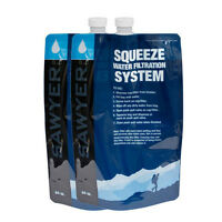 SAWYER 64OZ 2 LITRE 2 PACK SQUEEZE POUCHES WATER COLLECTION BUSHCRAFT SURVIVAL