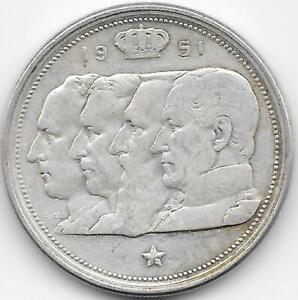 100 Francos Belgica 1951 PLATA