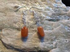 Orange Aventurine long nuggets (AGW 6Cts) silver plated hook earrings