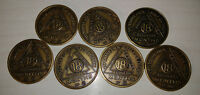 7 bronze colored 18 month alcoholic recovery chip coin token medallion
