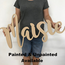 Personalised Wooden Name Large Wall Sign Room Decor Nursery Plaque Word -Painted
