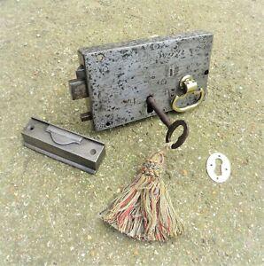 ANTIQUE GEORGIAN DOOR RIM LOCK SET related key brass handle keep letterbox hinge
