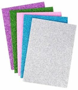10 x A5 Glittered Foam Sheets 5 Colours Art Crafts Pink Purple Green Blue Silver