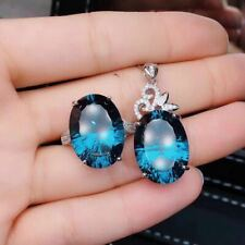 Certified Natural Sky Blue Topaz 925 Sterling Silver Ring Pendant Set Gifts
