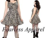 Sourpuss Lucille Leopard Retro 50S Punk Goth Rockabilly Pinup Tattoo Dress S-Xxl
