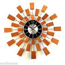 RETRO MID CENTURY MODERN STYLE Starburst SUNBURT teak Decorator clock