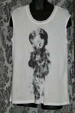 Womens size 16 long white sleeveless top with motif made by KATIES