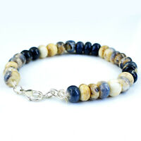 130.00 Cts Natural 8 Inches Long Sodalite Round Shape Beads Bracelet NK 31E40