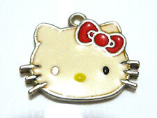 SANRIO ITALY HELLO KITTY ENAMEL CAT STERLING SILVER CHARM OR PENDANT 3/4""