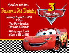 Cars Lightening McQueen Birthday Party Invitations Personalized Custom Custom