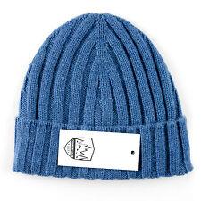 Men's COUNTRY CLUB Italy Medium Blue Cashmere Knit Beanie Hat Cap 50 M $195