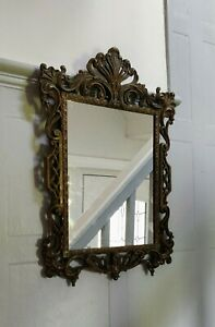Antique Metal Framed Mirror Early 20th Century 49 x 33 cm