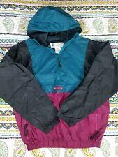 Columbia Sportswear Vintage Hoodie Windbreaker Anorak Jacket Sz M Colorblock 90s