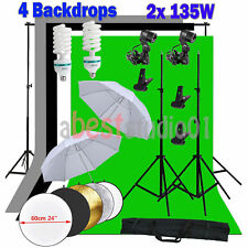 Photo Studio Continuous Lighting Kit Background Support 4 Backdrops Umbrella UK