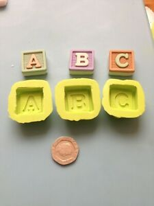 ABC baby blocks silicone moulds  - sugarcraft, baby shower, cake decorating