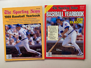 (2)1989 &1990 The Sporting News  Baseball Yearbooks. Grace & Sandberg on Covers.