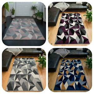 Large Geometric Rugs for Living Room Grey Pink Navy Area Mats Modern Hallway Rug
