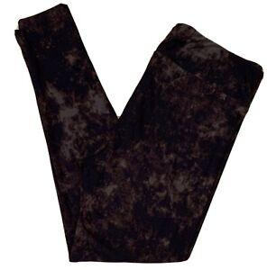 Lularoe Leggings OS Black Purple Aqua Green Tie Dye Airbrushed Scroll NWOT
