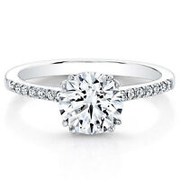 0.63 Ct Round Solitaire Diamond Engagement Ring 14K White Gold Rings Size L M N