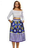 New Purple Floral Print A-line Pleated Midi Skirt Size UK 12-14