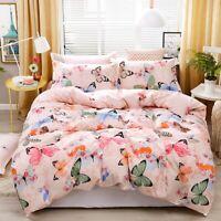 Pink Duvet Cover Set Twin/Queen/King Size Bedding Set Pillow Case Butterflies