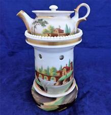 Antique hp paris porcelaine veilleuse teapot théière sur socle lumière nuit c 1860