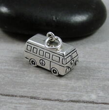 925 Sterling Silver VW Hippie Bus Charm - Hippy Love Peace Van Pendant NEW