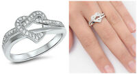 .925 Sterling Silver 10MM HEART KNOT LOVE DESIGN CLEAR CZ PROMISE RING SIZE 4-10