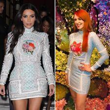 Balmain Kim Kardashian Engagement Blue Floral Dress Fashion Nova Version