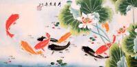 100% ORIGINAL ASIAN FINE ART CHINESE WATERCOLOR PAINTING-Koi fishes carps&Lotus