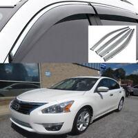 Fit For Nissan Terra 2018 Window Visor Vent Sun Rain Guard W//Chrome Bright Strip