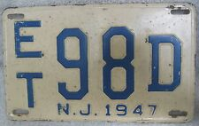 Vintage Antique 1947 NEW JERSEY License Plates- ET98D NJ1947