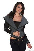 Women's Chic Elegant Black/Grey Cardigan Jacket Coat UK Size 8-10