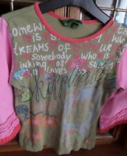 EXTRA HAUT  T-SHIRT OILILY MANCHES 3/4 FROUFROU MANCHES TAILLE 8 ANS TBEG