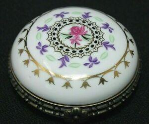 """VINTAGE Limoges FRANCE Hinged Gilt Porcelain Trinket Box, Round Clamshell 2 1/4"""""""