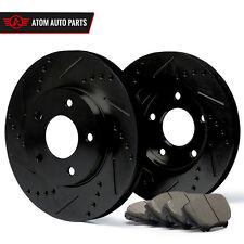 2002 2003 Mazda Protege5 w/Rear Disc (Black) Slot Drill Rotor Ceramic Pads F
