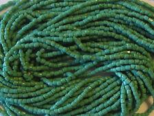 9/0 HANK 3 CUT GREEN OPAQUE CZECH GLASS SEED BEADS