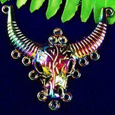 Plated Rainbow Carved Hematite Ox s' Head Pendant Bead SH253