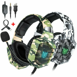 UK Camouflage Stereo Gaming RGB Headset Headphone For PS4 XBox Switch 3.5MM MIC