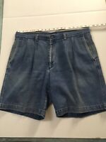 Dockers Pleated Jean Shorts Men's 38 Relaxed Fit Cotton Medium Wash