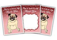 Valentine's Day Thank You Cards - Note - Pug - Pack of 12 by Party Decor