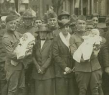 Happy Reunion for Home-coming Soldier Fathers - WW1 Stereoview