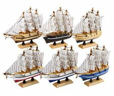 Dedoot Sailing Ship Model Decor Pack of 6 Wooden Miniature Sailing Boat Model.