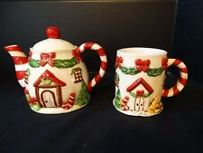 TII Collections Victorian Tea Pot & Mug Cup Christmas Tree Candy Cane