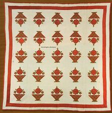 Red & Green Baskets Quilt Pattern Pieced/Applique IQ